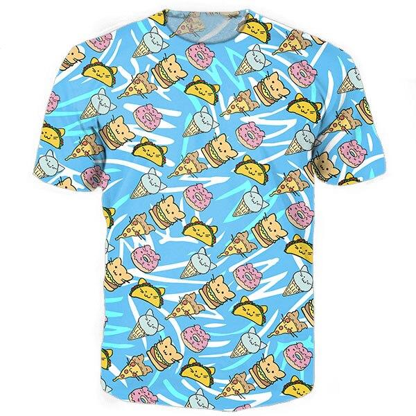 34983a3d Cat Food Tee 3d funny t shirts tacos/burgers/pizzas/ice creams/donuts print  t-shirt women men casual tees tops shirt
