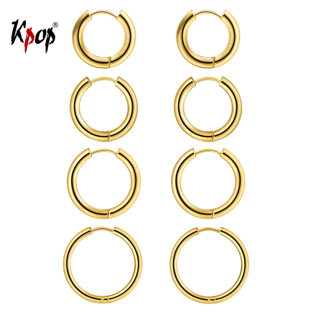 Kpop Hoop Earrings Set Simple Jewelry Gold/Silver Color Big Thick Circle Hoop Earrings for Women Size 10mm 14mm 16mm 20mm 4GE33 pair of delicate shell decorated hoop earrings for women
