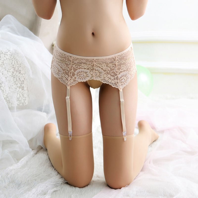 Transparent Floral Pattern Sexy Lace Lift Hip Belt For Lady Thigh-Highs Stockings Within Temptation Suspender Belt Socks