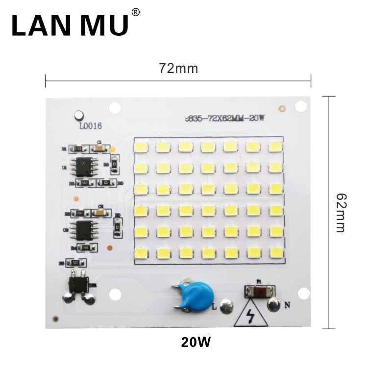 LAN MU LED Lamp Chips 220V SMD Bulb 2835 5730 Smart IC Led Light Input 10W 20W 30W 50W 90W For Outdoor FloodLight