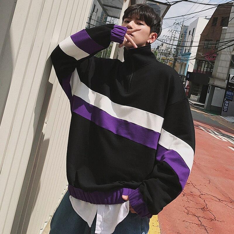 Chaqueta Suelta Nueva 2xl Europea white violet Los Color Pullover Deportes De negro Blanco Camisa 2018 Moda Casual Black Anchas Hombres púrpura M Rayas 7Zd5qxwZO