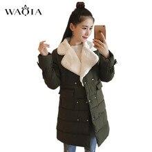 2017 Casaco de Inverno Mulheres Amassado Jaqueta Parka Outwear Ocasional Turn-down Collar Casacos Jaqueta de Algodão Grosso Casaco de Inverno Mulheres roupas