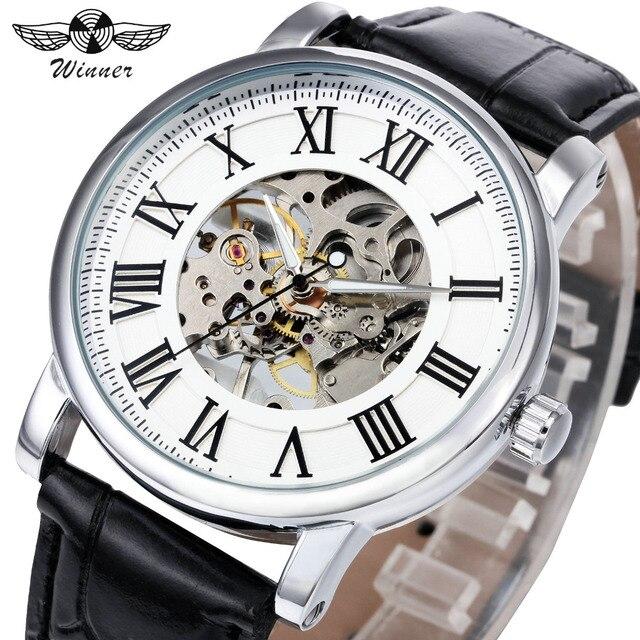 Победитель Лидирующий бренд Для женщин Деловые Часы римскими цифрами дамы ручным подзаводом Наручные часы Мода Скелет циферблат подарок для женщины