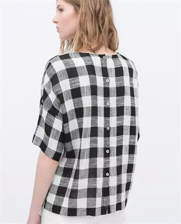 Black And White Checkered Blouse - Breeze Clothing