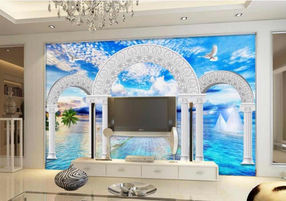 3D Papier Peint Peinture Murale de style Européen Personnaliser colonne Romaine Photo Salle De Bain Salon De Luxe Fond Mur Papier Peint