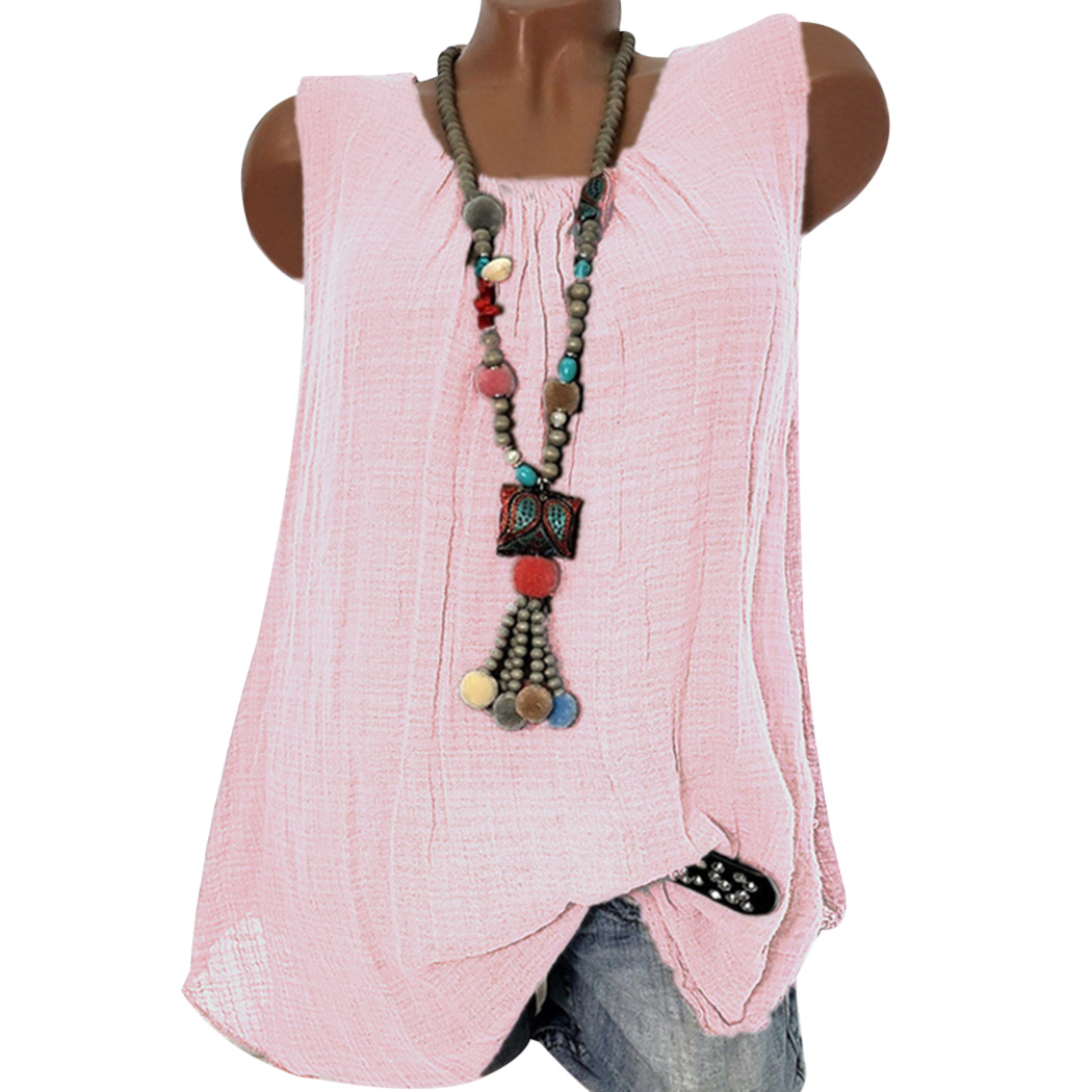 89e5c56e32a Vintage Linen Cotton Baggy Blouse Shirts Women Tops Summer Plus Size O Neck Sleeveless  Lace Ladies