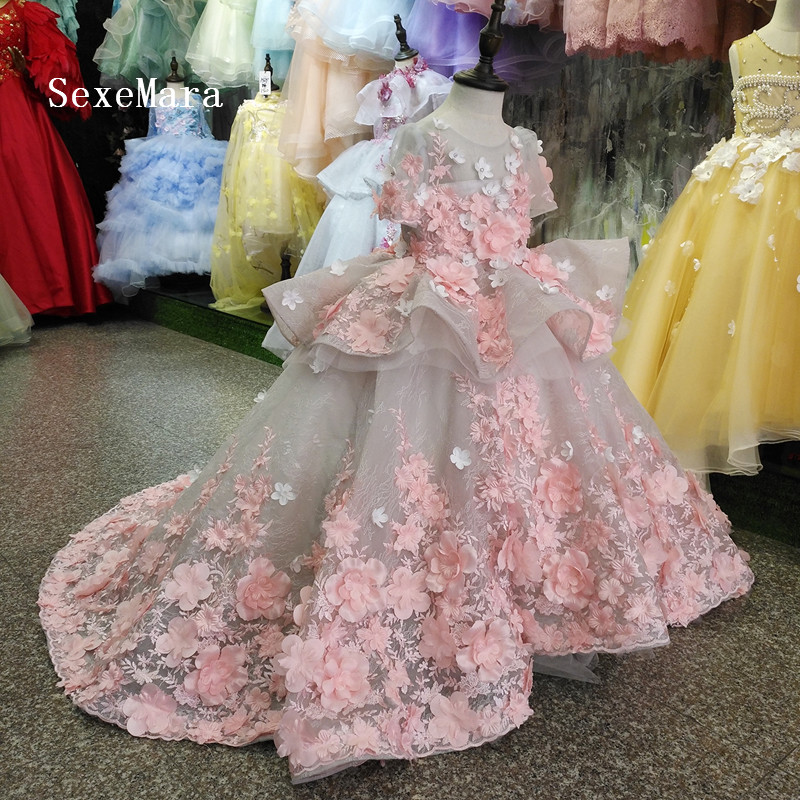 Luxury   Flower     Girl     Dress   With 3D Floral Appliques Puffy Tulle Kids Pageant Gowns Custom Made Princess   Dress     Girls   Real Photo