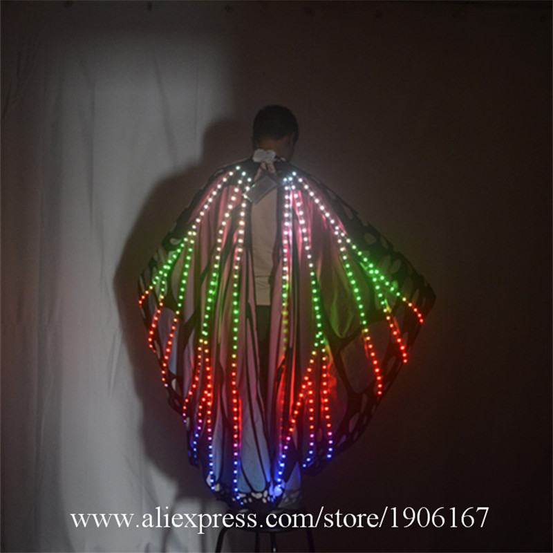 Ballroom dance led costumes luminous light dj dance colorful cloak butterfly wings catwalk perforamance dress clothe show dj01