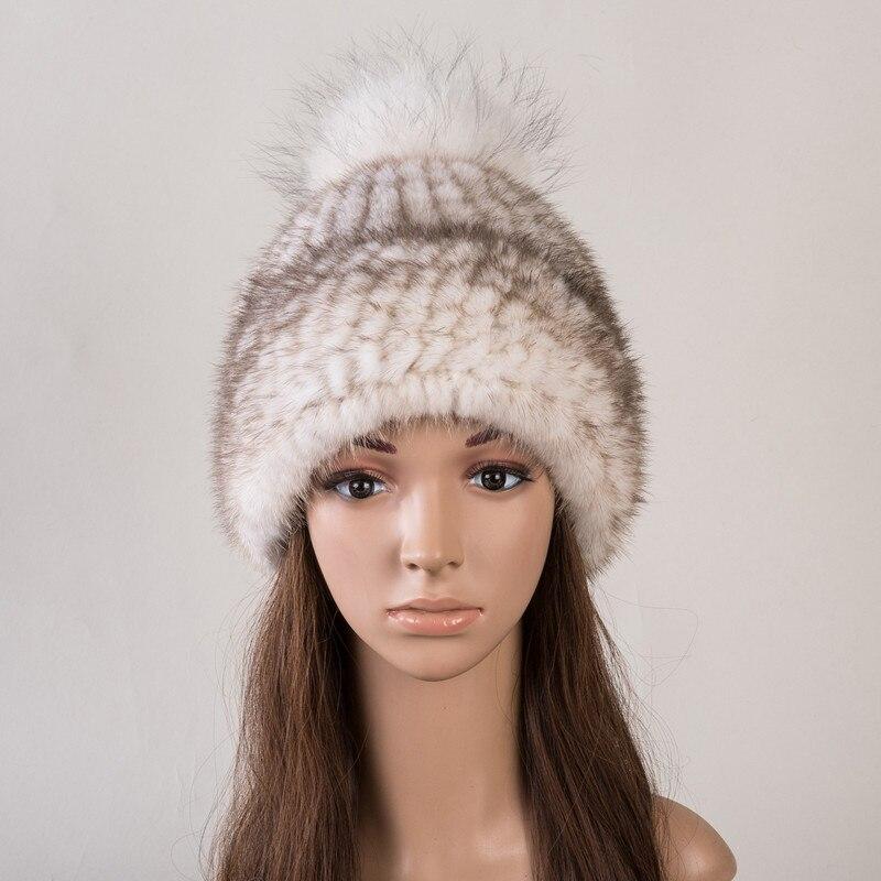 Réel fourrure chapeau de vison naturel fourrure casquettes pour femmes automne 6 couleurs nouveau style fourrure bonnets russe hiver chaud fourrure chapeaux H142 - 5