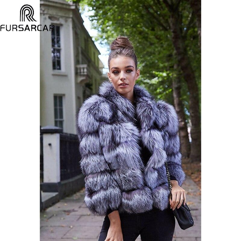 Меховое пальто Sarcar, Новое Женское зимнее роскошное тонкое пальто из лисьего меха, верхняя одежда из натурального меха, пальто из натурально...