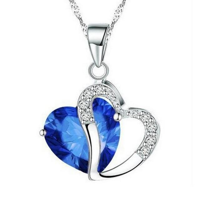 Heart Shaped Zircon Crystal Necklace Trendy Fashion Heart Pendant Necklace Crystal Amethyst Gemstone Women Jewelry Bizuteria in Pendants from Jewelry Accessories