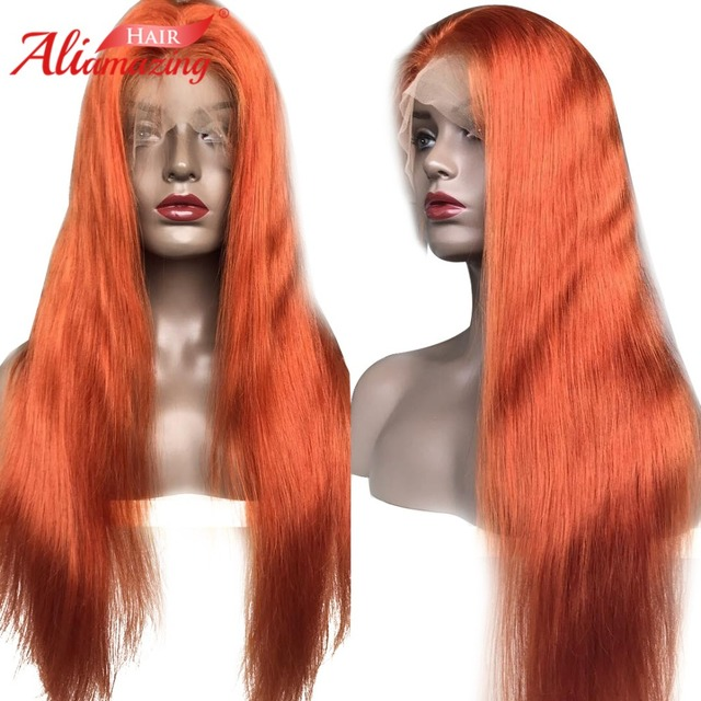 Ali Amazing Hair Lace Front Human Hair Wigs Remy Brazilian Ginger Color  Straight Lace Wig Preplucked With Baby Hair e1f68df53