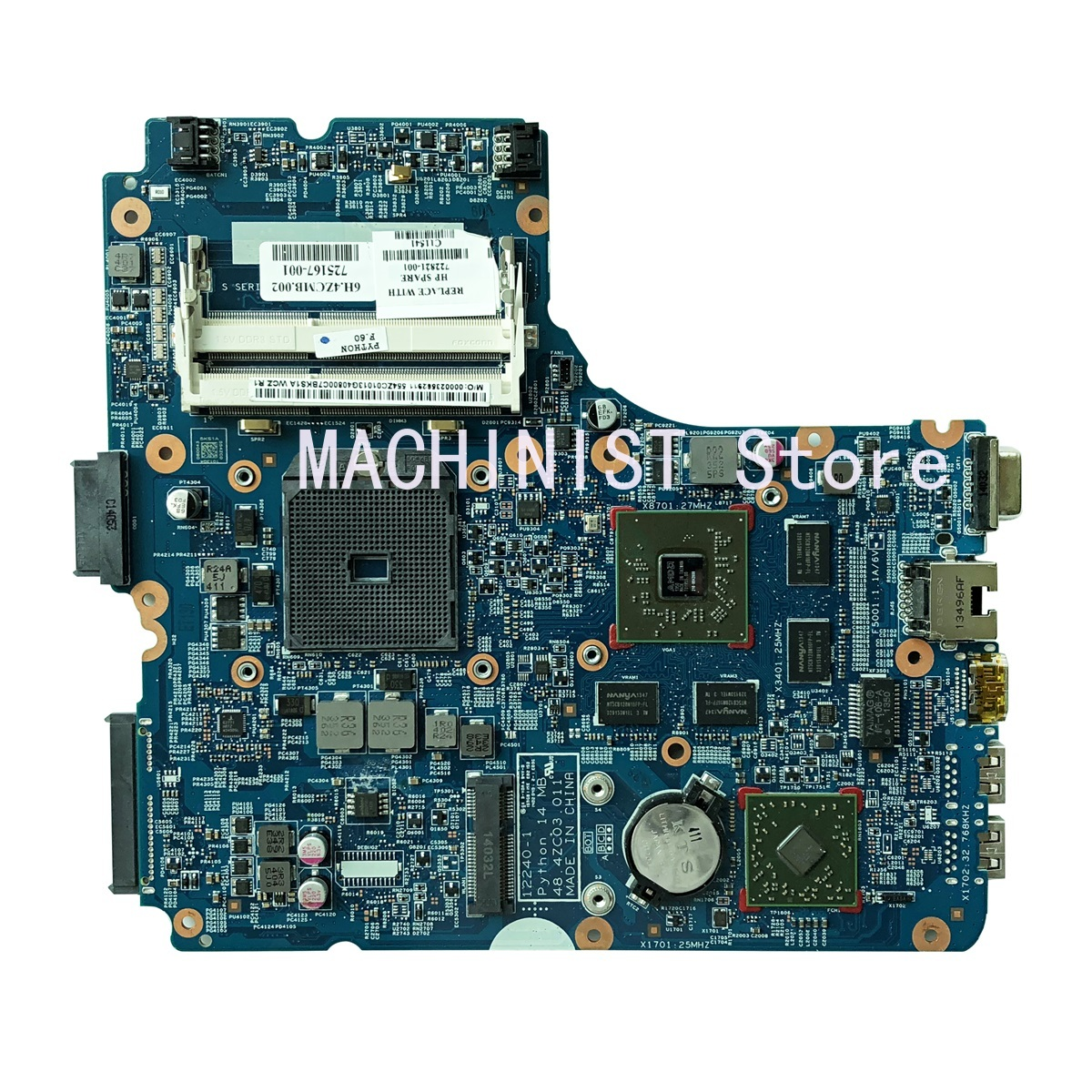 445 G1 Laptop <font><b>Motherboard</b></font> For <font><b>HP</b></font> <font><b>455</b></font> G1 <font><b>455</b></font>-G1 445-G1 <font><b>motherboard</b></font> 48.4ZCW03.011 12240-1 722821-001 722821-501 722821-601 image