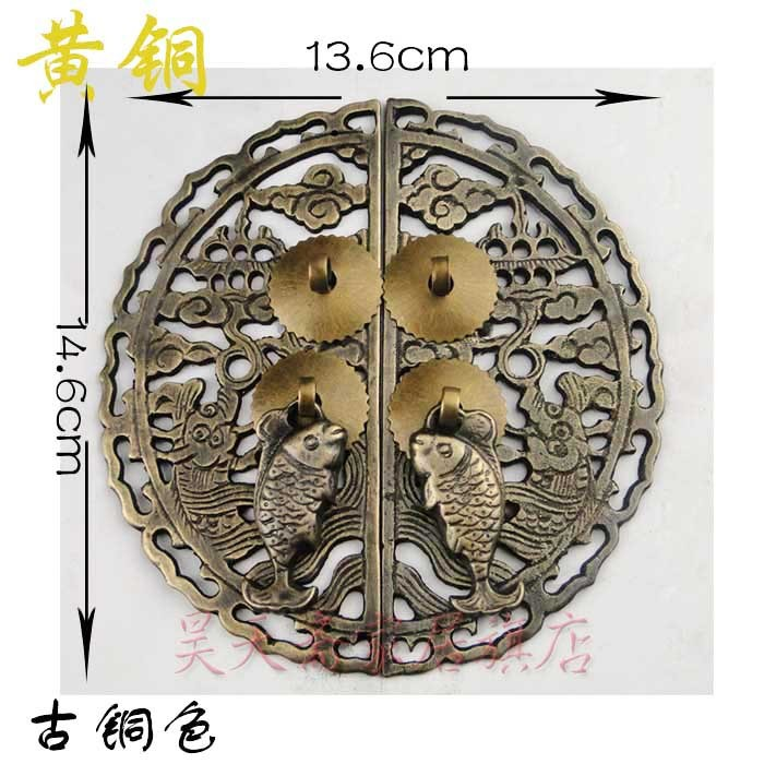 [Haotian vegetarian] antique copper door handle Chinese handle HTB-180 [haotian vegetarian] antique copper door handle chinese handle htb 179 custom models diameter 14cm