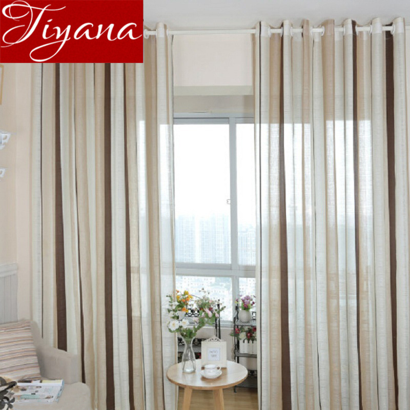 Striped Curtains Sheer Voile Window Screen Modern Living Room Kitchen Tulle Curtain Linen Fabrics Drapes Treatment T&222 #20