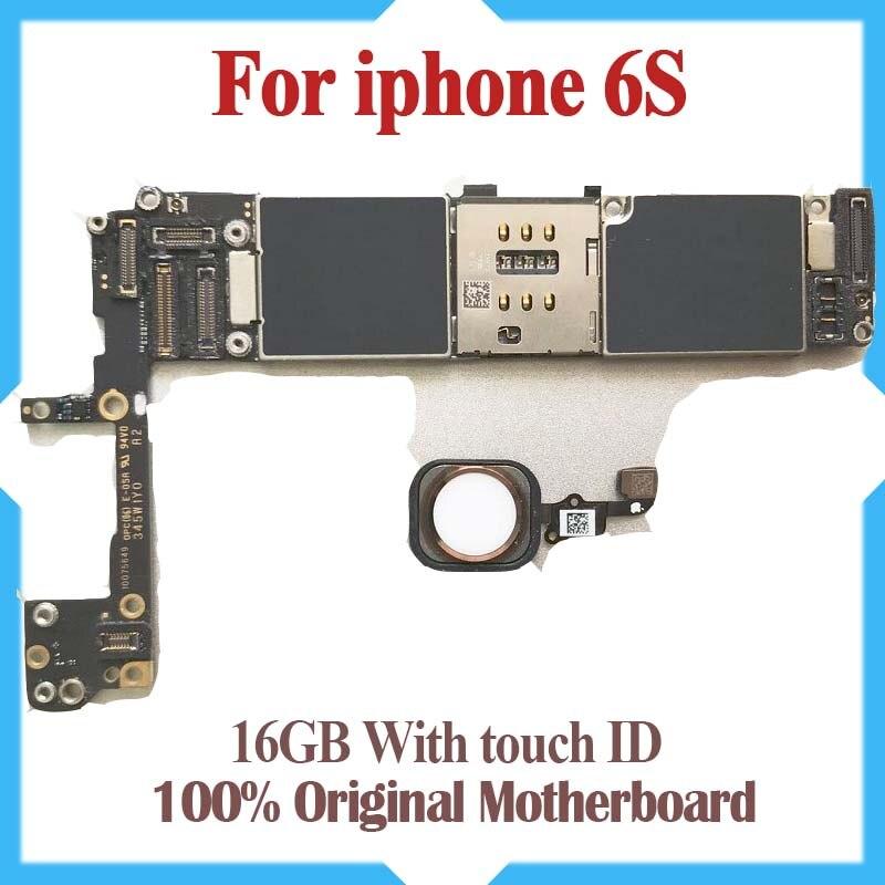 100% Débloqué Original, 16 gb 64 gb 6 s Carte Mère avec Tactile ID, pour iphone 6 S Carte Mère avec Identification Des Empreintes Digitales