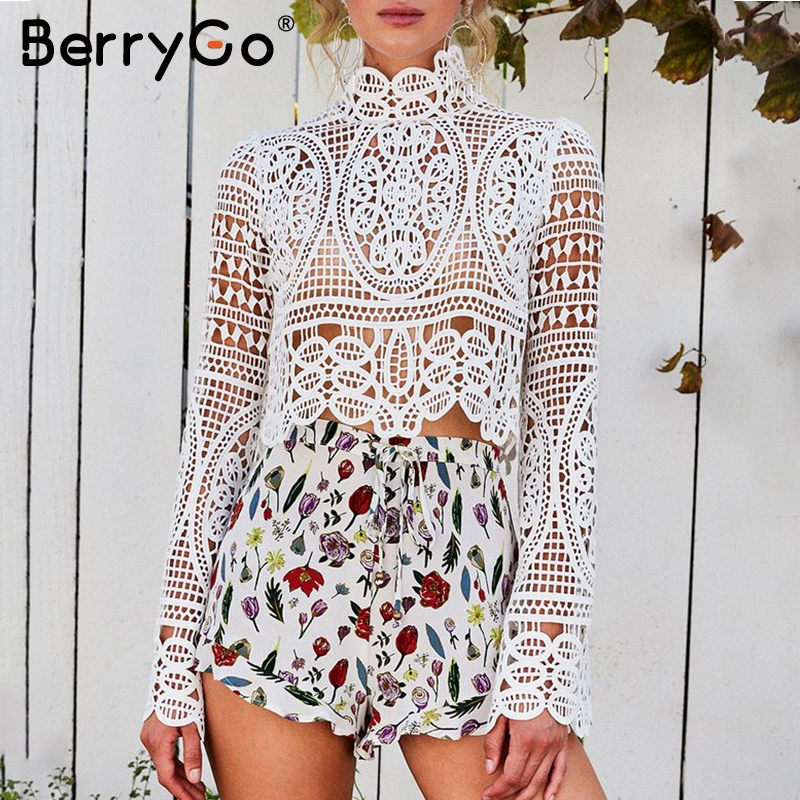 BerryGo Hollow out transparent lace blouse shirt Women elegant white top shirt summer Flare sleeve blouse tops tees blusas 2018