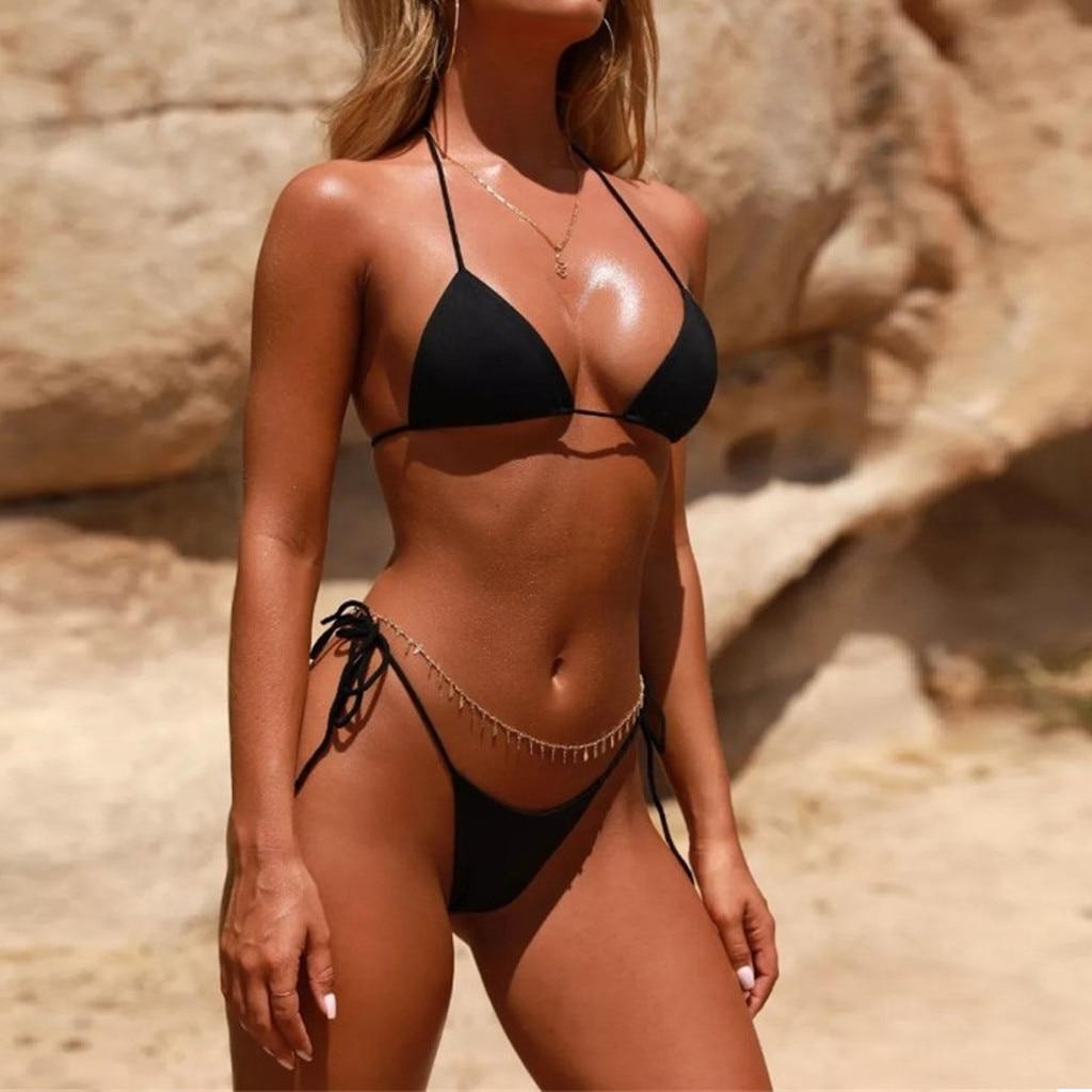 HTB1ZE5zaozrK1RjSspmq6AOdFXac Women Sexy Bikinis Bandeau Bandage Bikini Set Push-Up Brazilian Swimwear Beachwear Swimsuit 2019 Mujer Solid Maillot De Bain#15