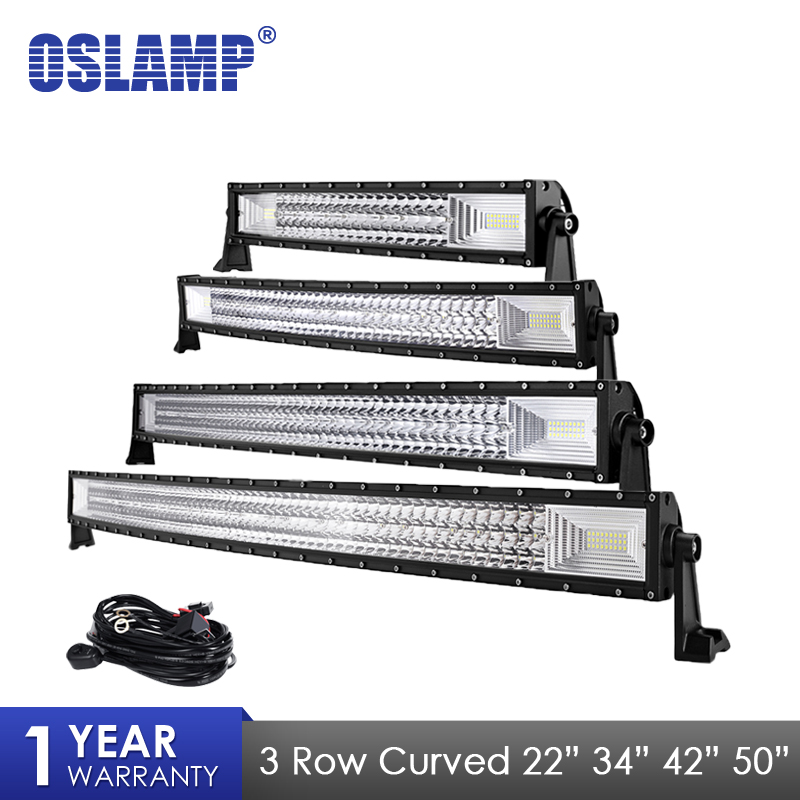 Oslamp 3 Row 22  34 42 50 inch LED Light Bar Curved Combo Led Work Light For 4x4 Truck ATV Trailer Car Offroad Driving Light auxmart 3 row 22 34 42 50 curved led light bar auto 4x4 offroad led work light bar 12v 24v combo car lamp suv truck trailer