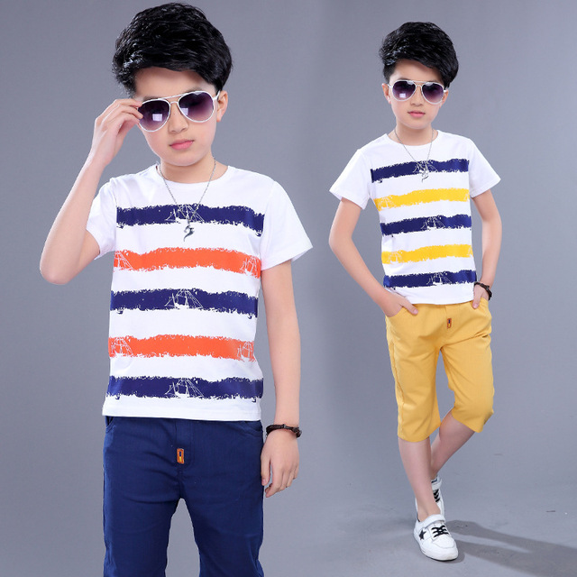b07b7ac836ca Aliexpress.com   Buy Kids Sets Boys Summer New Children Short Sleeved T  Shirt +pant Two Sets of Children s Sport Suit 5 14 Ages Clothing 10 12 Year  from ...