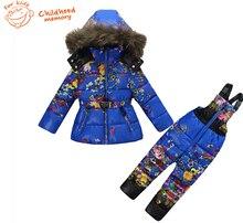 2016 зимние девушки мех теплый вниз наборы цветок печатных толстовки пальто и пиджаки дети куртки + комбинезоны брюки комбинезоны