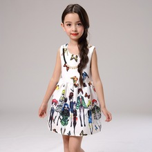 Europe Style Kids Fashion Princess Dress Designer Character Painting Wedding Dress Girl Child Elegant Children Dress