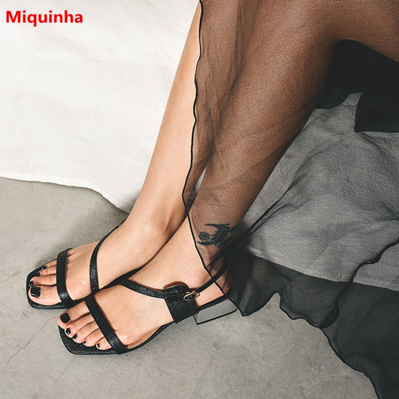 Miquinha Concise Open Toe Buckle Strap Square Heel Women Sandals Black Solid Fashion Med Heel Women Casual Party Leisure Shoes  miquinha summer fashion casual shoes women sandalia feminina open round toe buckle strap square heel shoes sexy ladies sandals