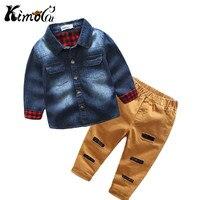 KIMOCAT/Осенне-зимняя обувь с длинными рукавами для мальчиков джинсовые Досуг джентльмен с лацканами + рваные повседневные штаны костюм детска...