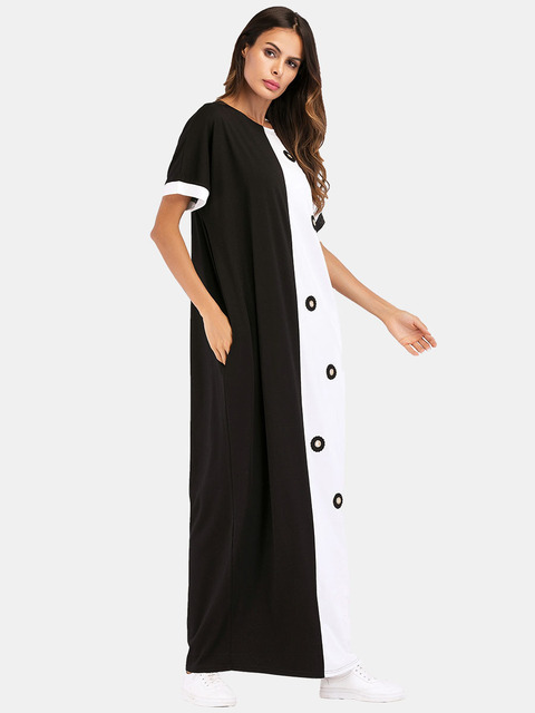 #187055 Musulman Fashion Hot Sell Mideast Muslim Women's Wear Euramerica Long Contrast Color Coloring and Splicing Dresses 5