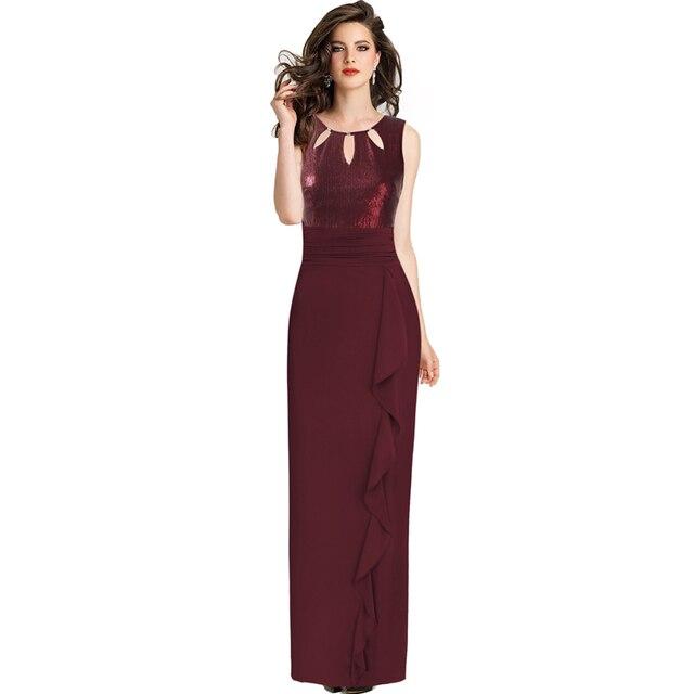 76f19abd9 Vfemage mujer elegante de lentejuela de volante fruncido cerradura vestido  de noche Formal boda FIESTA DE