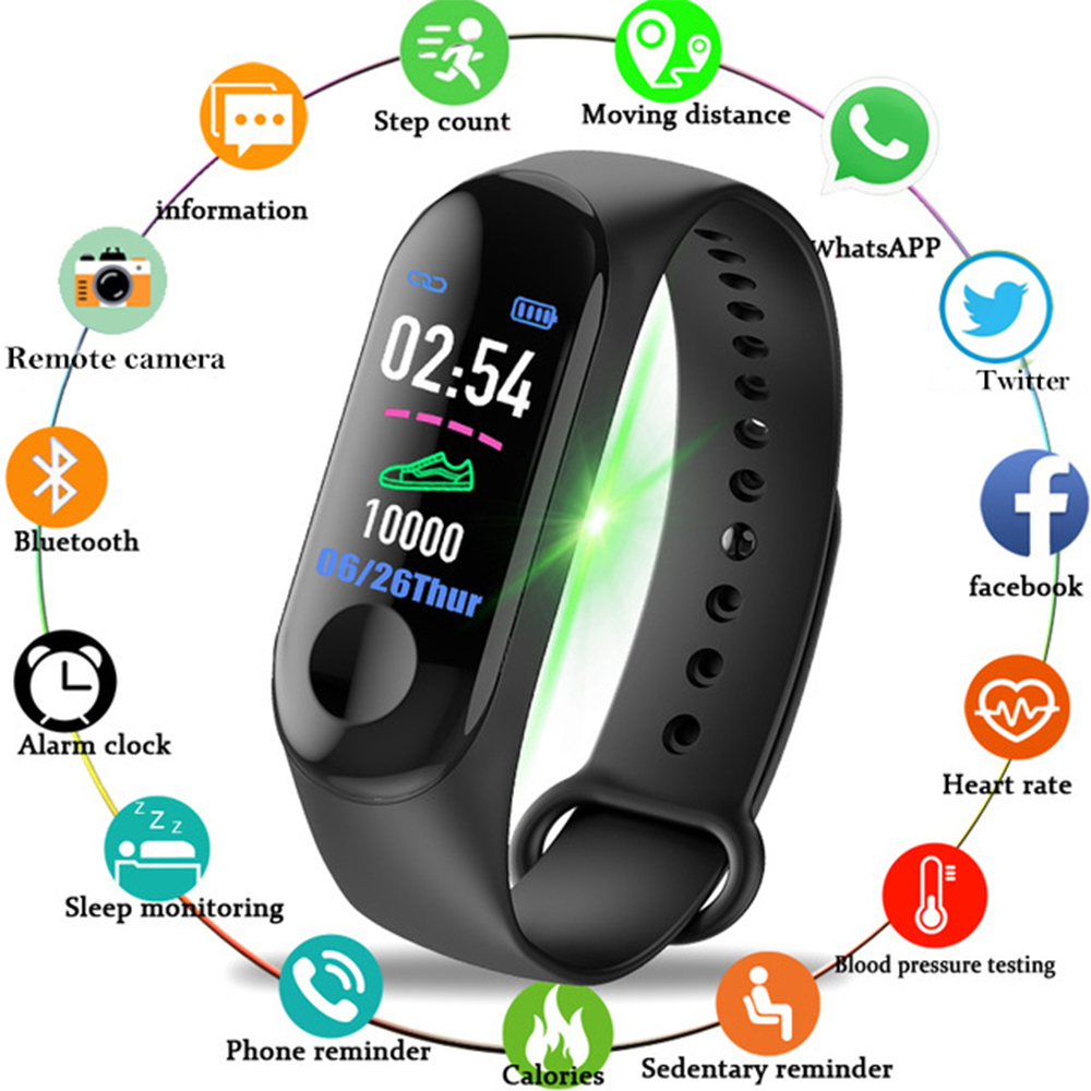 Bluetooth Smart Watches Sport Fitness Bracelet Watch Men Women Color-screen Heart Rate Blood Pressure Monitor Clock Pk mi band 3 image