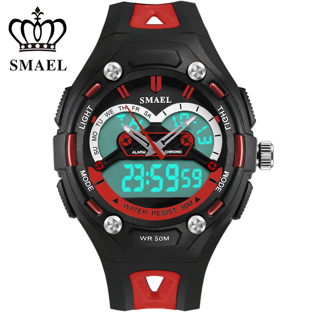 New Kids Watch Dual Time Display Sport Wristwatch Girl Digital Watch 50m Waterproof LED Clock Children relogio Best Gifts WS1339