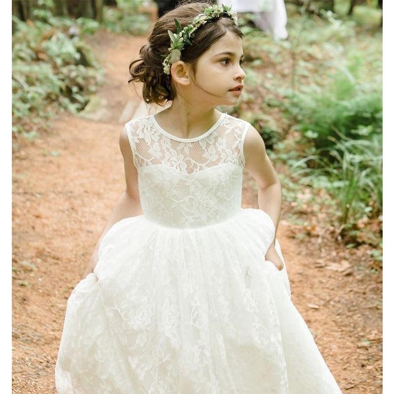 Fashion Ivory Lace Ball Gown First Communion   Dresses   For   Girls     Flower     Girl     Dress   Kids Prom   Dresses   Vestido De Daminha Hot Sale