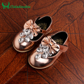 12-14CM Baby Girl Shoes Infant Bowtie Crystal Bright Shoes Kid Child PU leather Diamond Princess Mirror Fall Spring Toddler Shoe