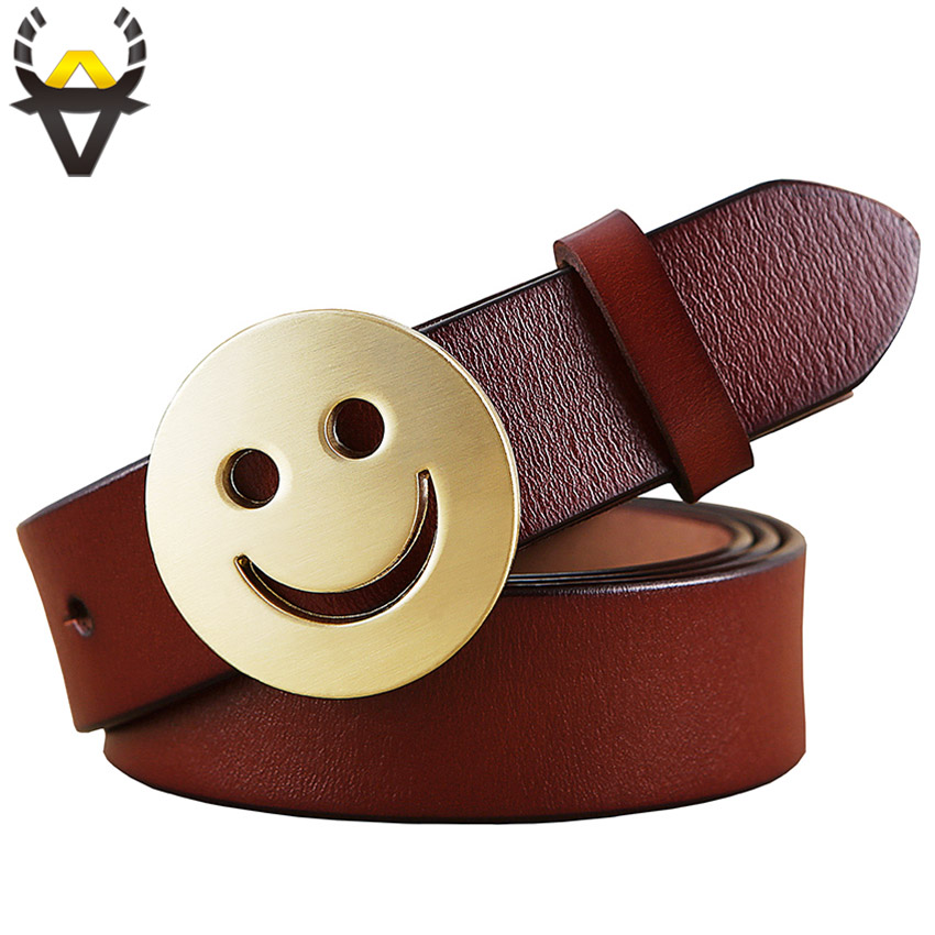 Smile Face Pin Buckle Belt Woman Fashion Genuine Leather Belts For Women Quality Cow Skin Waist Strap Female For Jeans Width 2.8