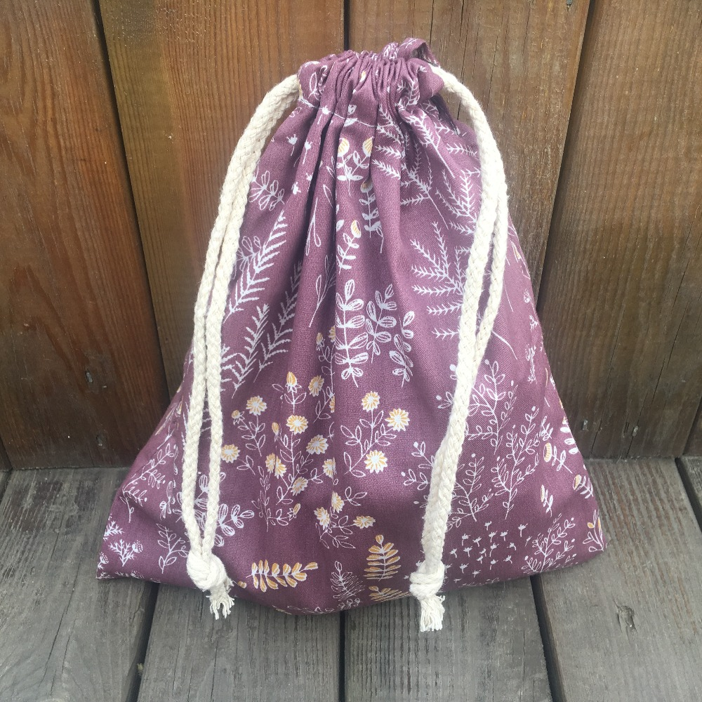 YILE 1pc Cotton Twill Drawstring Pouch Organizer Party Gift Bag Print Rural Grass Flower Wine Red YL9415b