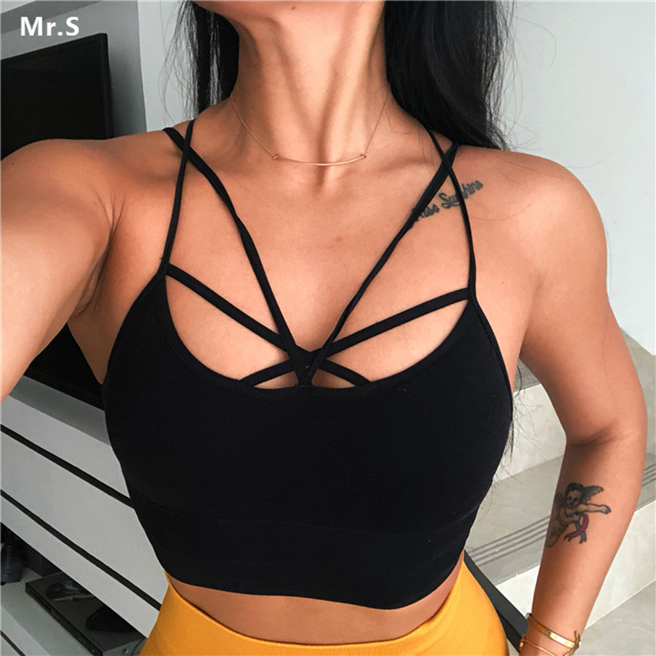 Women's Black Split Strap Seamless Sports Bra Stretchy Running Crop Top Bra For Yoga Gym Workout Fitness Support Padded Bra