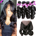 360 Lace Frontal Closure With Bundles 4 Bundles With Closure Peruvian Loose Wave With Lace Frontal 360 Lace Front Human Hair