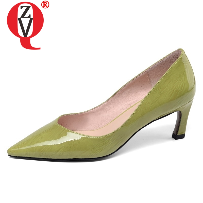 ZVQ shoes women 2019 spring new fashion sexy high quality genuine leather women pumps pointed toe