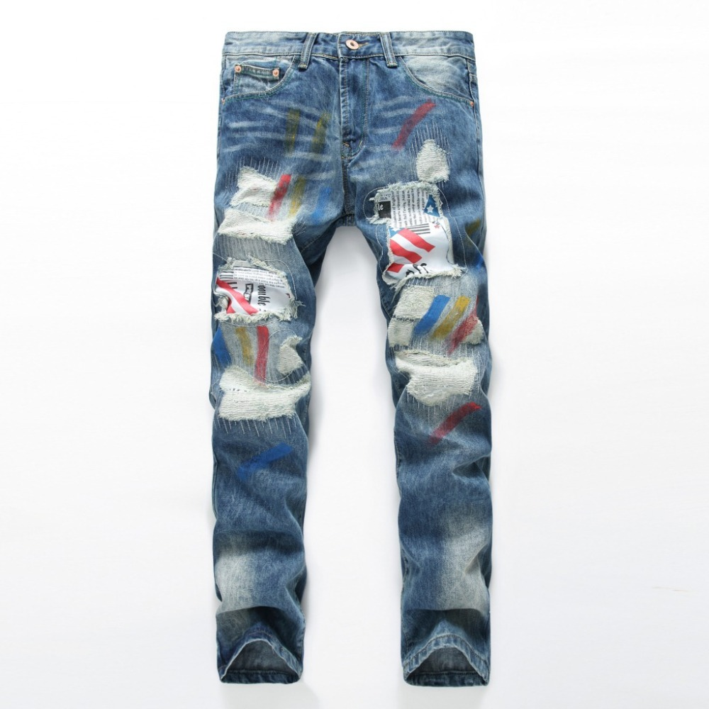 Personality Ink Jeans Men Ripped Jeans Classic Blue Scratched Biker Jeans Rap Hole Denim Straight Hip Hop Slim Fit Pants newsosoo personality badge patchwork jeans mens ripped men jeans rap biker hole hip hop denim straight slim fit casual men pants