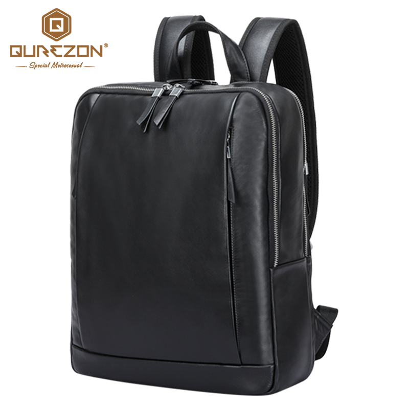 Business Men Backpacks 100% Genuine Leather Men's Travel Bag Fashion Man Backpack Casual laptop Male Backpack High Top Quality arctic hunter design 15 6 laptop backpacks men password lock backpack waterproof bag casual business travel backpack male b00208