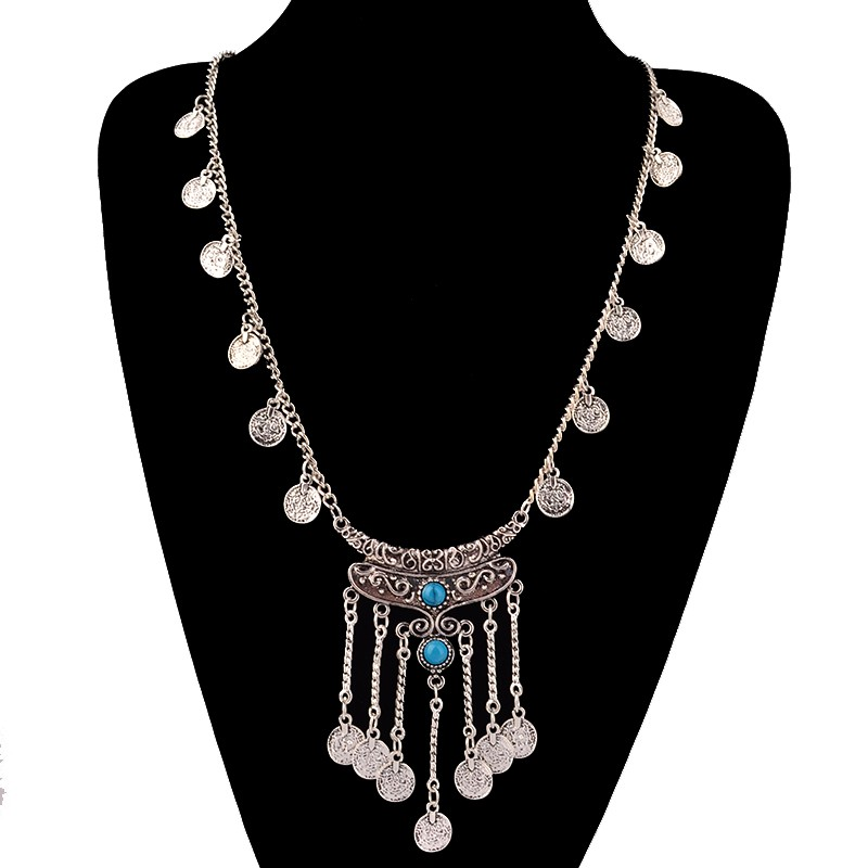 HTB1ZE7IKpXXXXXWXFXXq6xXFXXXi Long Bohemian Antique Silver Coins and Tassels Necklace For Women
