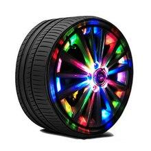 الطاقة الشمسية سيارة محور عجلات ضوء أضواء حافة المحيطة RGB 12 LED فلاش مصباح للزينة جو النيون السيارات ضبط سيارة العالمي