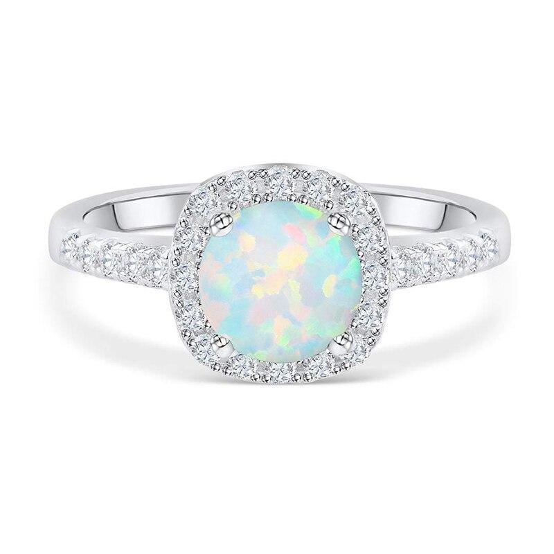 Silverwill élégante bague de fiançailles opale pour femmes halo 925 bague en argent sterling cadeau anniversaire unique bijoux 2019 moda - 2