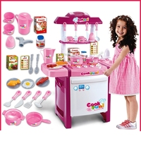 [Funny] 25 kinds tableware fittings Arrival Child Classic Pretend Play imitate chef light Kitchen Sets COOK FUN game girl gift