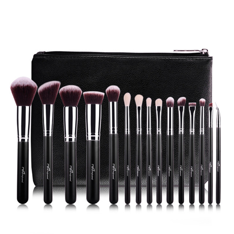 MSQ Professional 15pcs Makeup Brushes Set Powder Foundation Eyeshadow Make Up Brush Tool Soft wool Hair Brush With PU bag msq 12pcs makeup brushes set powder foundation eyeshadow make up brush professional cosmetics beauty tool with pu leather case