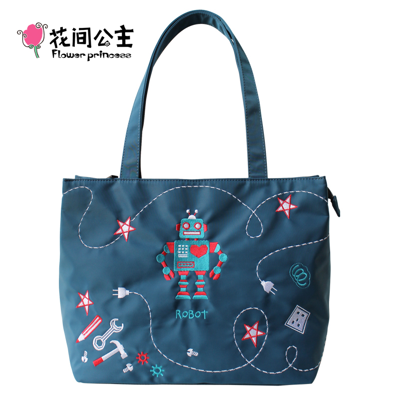Flower Princess Women Robot Shoulder Bag Summer Fashion Handbag Tote Bags Girl Embroidery Light 2017 Nylon Hand Bag Bolsa luxury chinese style women handbag embroidery ethnic summer fashion handmade flowers ladies tote shoulder bags cross body bags