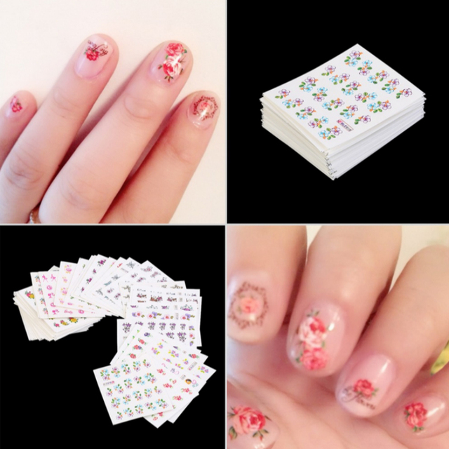 50pcsset Diy Manicure Wraps Flower Feather Butterfly Bird Rose