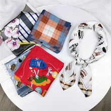 LEAYH 70*70cm Simulated Silk Square Scarf Woman Small Bandanas Multifunction Hair Scarves Fashion Neckerchief Decorative