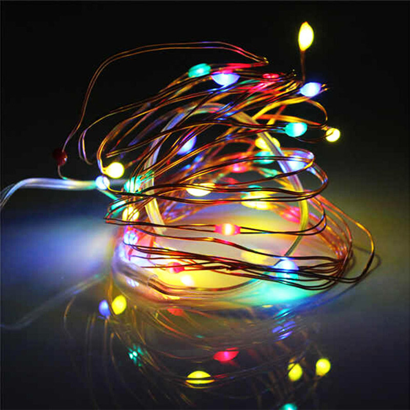 1M/2M 20 LED Copper Wire Fairy Garland Lamp String Lights Christmas Wedding Home Party Decoration Powered By CR2032 Battery